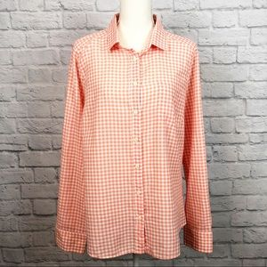 J. Crew Perfect Shirt Orange Gingham Check Large